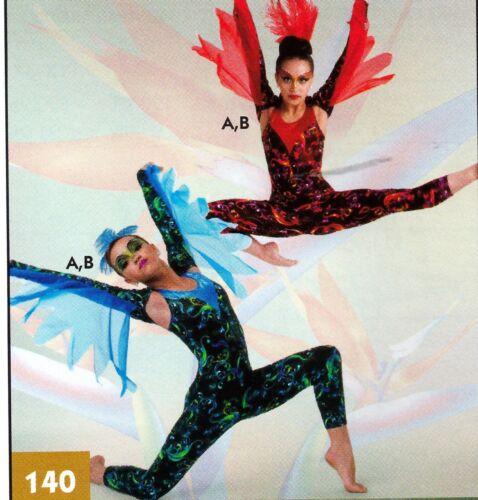 Unitard Foil Print w// Feathers Dance Costume 2 color choices Child /& Adult Sze