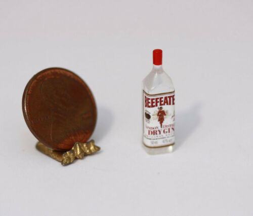 #1 Dollhouse Miniature Bottle of Dry Gin by Hudson River Miniatures