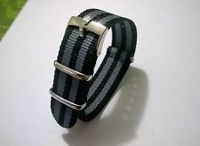 18mm NATO BOND cinturino nero grigio con fibbia Rolex