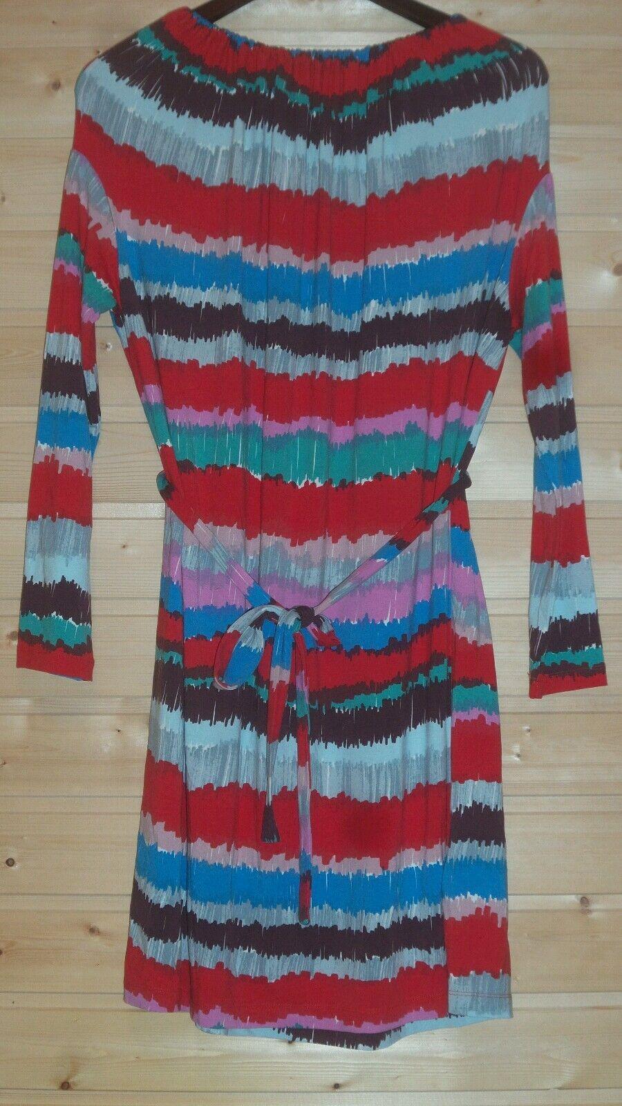 MARIMEKKO STRETCH VISCOSE LONG SLEEVE COLORFUL DRESS URO SZ S WAIST STRAP NWOT