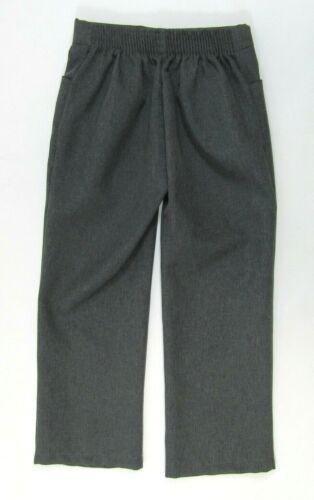 Girls School Uniform Trousers Elasticated Pants Straight Leg Black Navy Grey
