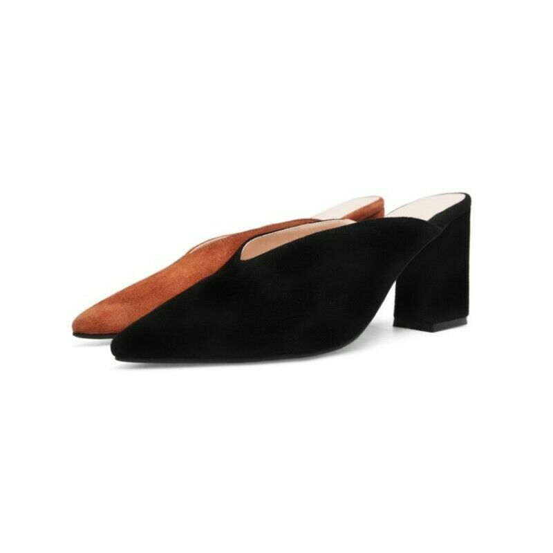 Womens High Block Heel Pointed Toe Sexy Slipper Pump Suede shoes Plus Size Vogue