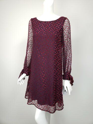 TAYLOR Dark Purple Wine Velvet Polka Dot Shift Dress sz 8 NWT $99