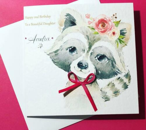 1 Of 3FREE Shipping Beautiful Girls 2nd Birthday Card Handmade Personalised For Daughter Niece