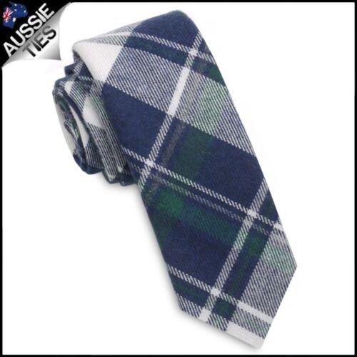Dark Blue Green /& White Tartan Plaid Skinny Tie