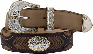 Mens Miel Concho Style Leather Overlay Western Cowboy Belt Silver