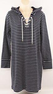 TOMMY-HILFIGER-Women-039-s-Striped-Hooded-Sweatshirt-Dress-Navy-Blue-S-M-L
