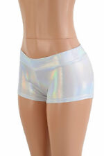 MEDIUM Flashbulb Holographic Low Rise Rave Festival Party Shorts Ready To Ship!