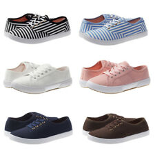 New Women Canvas Shoes Lace Up Casual Comfy Flat Fashion Sneakers Athletic Shoes