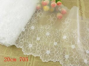 """10""""*1yard Delicate  Embroidered flower tulle Lace Trim sewing Craft DIY 820"""