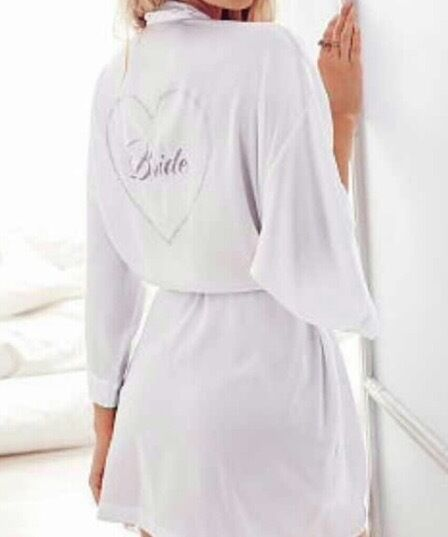 Victoria's Secret BLING BRIDE ROBE I DO COLLECTION Satin Kimono WrapNWT