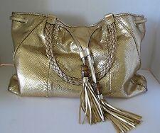 Authentic GUCCI Gold Python Snakeskin Metallic Shoulder Hobo Bag