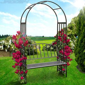 rosenbogen rankhilfe pergola spalier mit sitzbank torbogen rankgitter laubengang ebay. Black Bedroom Furniture Sets. Home Design Ideas