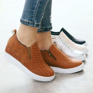 US-Women-Round-Toe-Casual-Shoes-Ladies-Wedge-Heels-Slip-on-Loafers-Walking-Sport