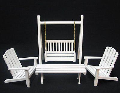 Gartenmöbel Set 4 Teile Schaukel Stuhl Bank  Puppenhausmöbel  Miniatur 1:12