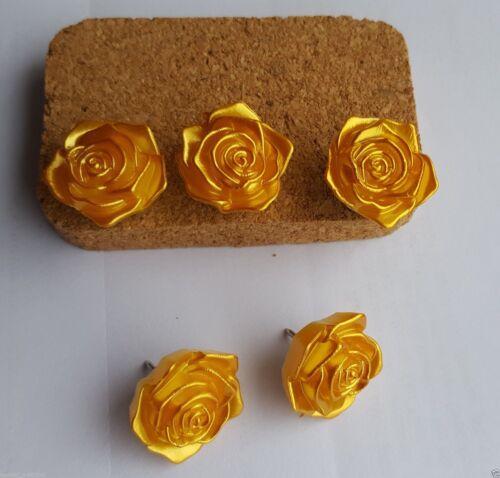 5 GOLDEN YELLOW ROSE NOVELTY PUSH PINS THUMB TACKS FOR CORK DRAWING NOTICE BOARD