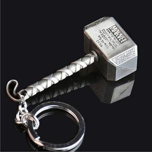 Marvel-The-Avengers-Thor-Hammer-Mjolnir-Pewter-Metal-Keyring-Key-Chain-Keychain