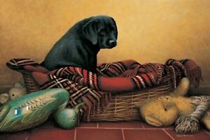 Nigel-Hemming-HOME-ALONE-Black-Labradors-Labs-Cute-Basket-Puppy-Puppies-Art