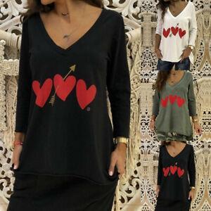 Mode-Femme-Confortable-Shirt-imprime-Manche-Longue-Col-V-Simple-Haut-Tops-Plus
