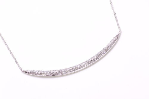 ZX47 SHORT DELICATE SILVER METAL NECKLACE WITH DIAMANTE ENCRUSTED CURVE FEATURE