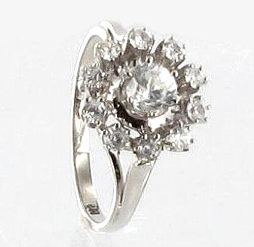 585 ECHT whitegold  gold Zirkonia blueeme Ring  Gr. 56  (18)