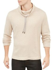 Alfani Mens Sweater Heather Sand Beige Size Large L Funnel-Neck Knit $65 001