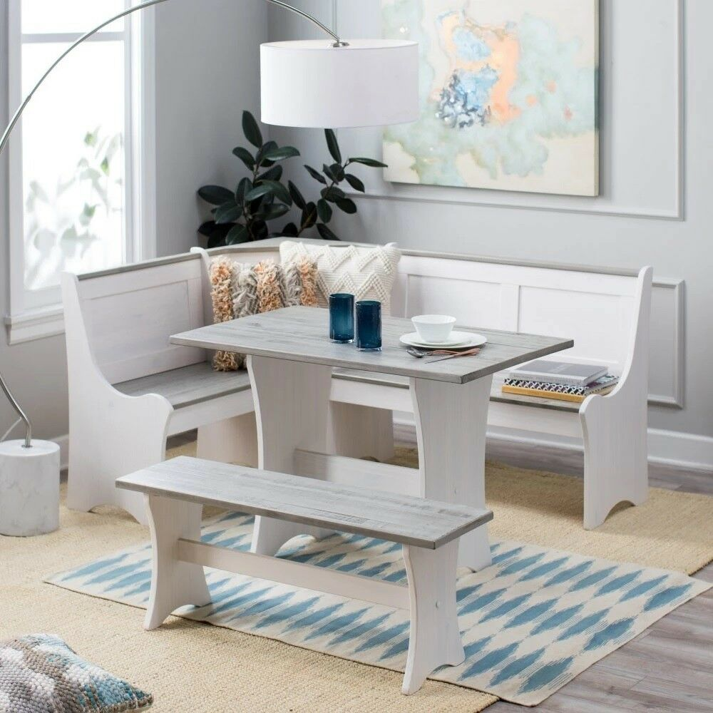 Corner Nook Dining Set Table Storage Bench White Gray Beach Coastal Kitchen  NEW