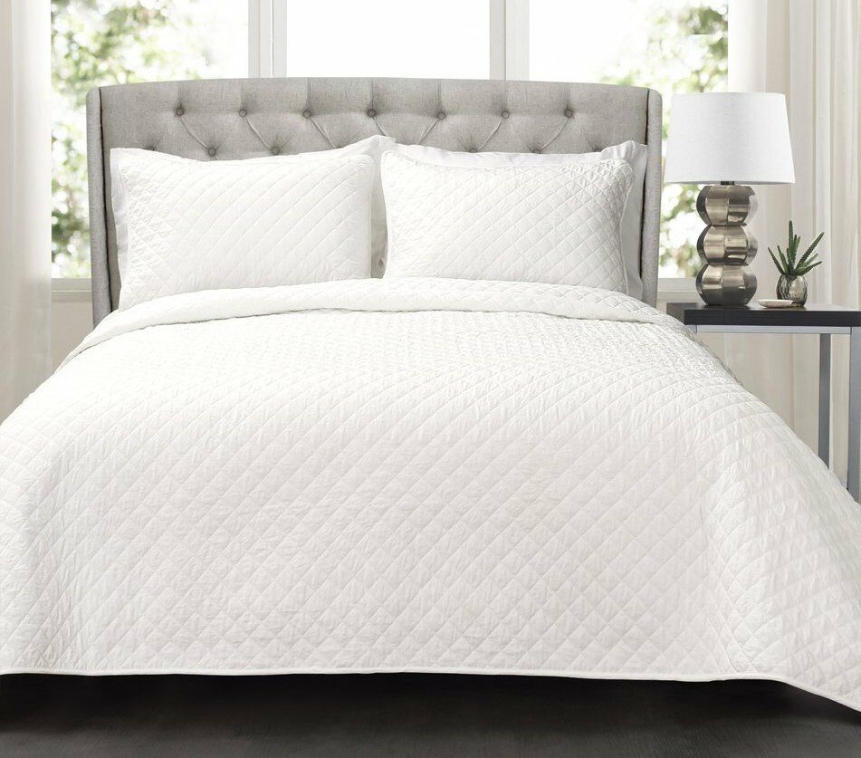 bianca DIAMOND Full   Queen QUILT SET   COTTON MATELASSE QUILTED LUXURY COTTAGE