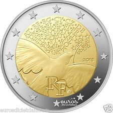 """Pièce 2 euros commémorative FRANCE 2015 """"70 ans de Paix en Europe"""" - UNC - Neuve"""