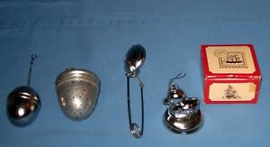 LOT-4-VTG-TEA-SPICE-STRAINER-INFUSER-NIB-Duck-On-Tray-Aluminum-LG-Acorn-Spoon
