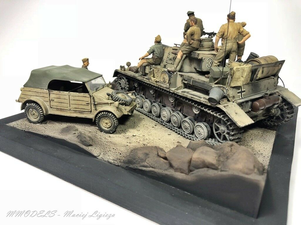 WW2 D.A.K. - E.Rommel + Panzer IV + VW 1 35 - built and painted