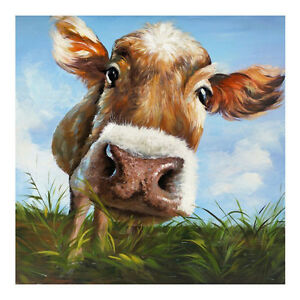 Image Is Loading Hand Painted Cow Modern Abstract Animal Oil Painting