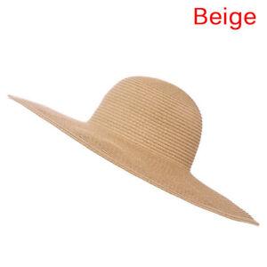 2d8ea119539 Details about Summer Beach Hat For Women Foldable Wide Large Brim Floppy Sun  Straw Hat Cap H P