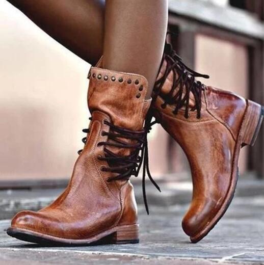 femmes Low Cuban Heels Rivet Lace Up Mid Calf Riding bottes Stud Outdoor chaussures G73