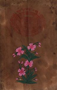 Indian-Floral-Miniature-Artwork-Handmade-Old-Stamp-Paper-Mughal-Flower-Painting