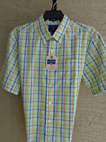 Mens Saddlebred Cotton Blend Button Front Casual Shirt Plaid L