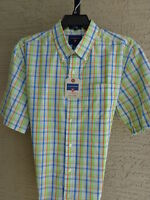 Mens Saddlebred Cotton Blend Button Front Casual Shirt Plaid L