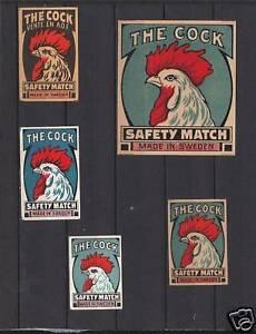 5 Anciennes étiquettes Allumettes Suède Coq Oiseau Wtotvz0r-08000703-630713193
