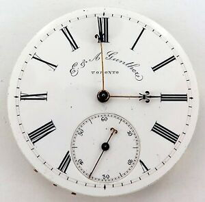 VINTAGE-E-A-GUNTHER-TORONTO-CANADA-KEY-WIND-POCKET-WATCH-MOVEMENT-amp-DIAL