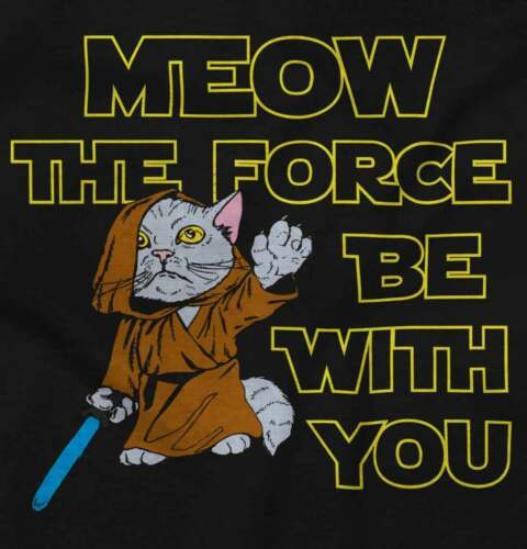 Meow The Force Be With You Funny Space Movie Short Sleeve T-Shirt Tees Tshirts