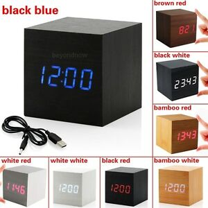 USB-Sound-Control-Holz-Cube-Digital-LED-Schreibtisch-Wecker-Thermometer-Timer
