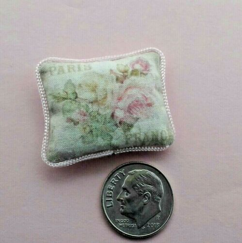 Dollhouse Miniature Pillow Paris France Rose Shabby Chic Country Charm 1:12