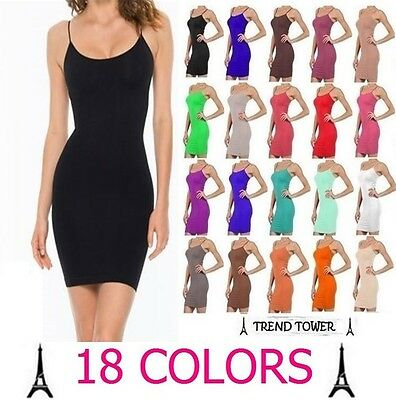 CAMISOLE LONG TANK TOP PLAIN SPAGHETTI STRAP SLIP MINI DRESS