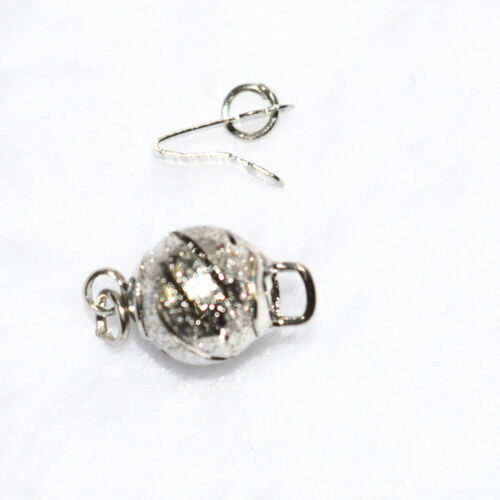 10pcs 8mm zinc alloy plated silver frosted hollow clasps Accessories 18K GP