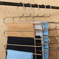 Clothes Hanger Pants Trousers Hanging Layers Clothing Storage Space Saver Neat