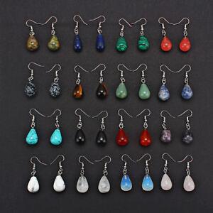 1-Pair-Women-Water-Drop-Natural-Stone-Pendant-Dangle-Earrings-Jewelry-13x22mm