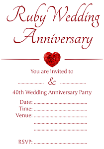 1-100 PACK OF 40TH RUBY WEDDING ANNIVERSARY PARTY INVITATIONS Cards Invite red