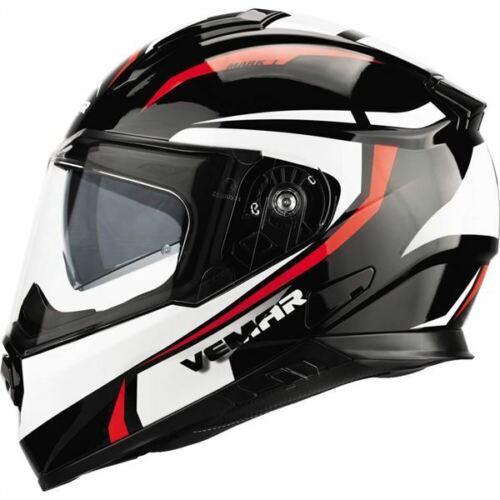 All Sizes Blk//Wht//Red Vemar Zephir Mark Full Face Helmet