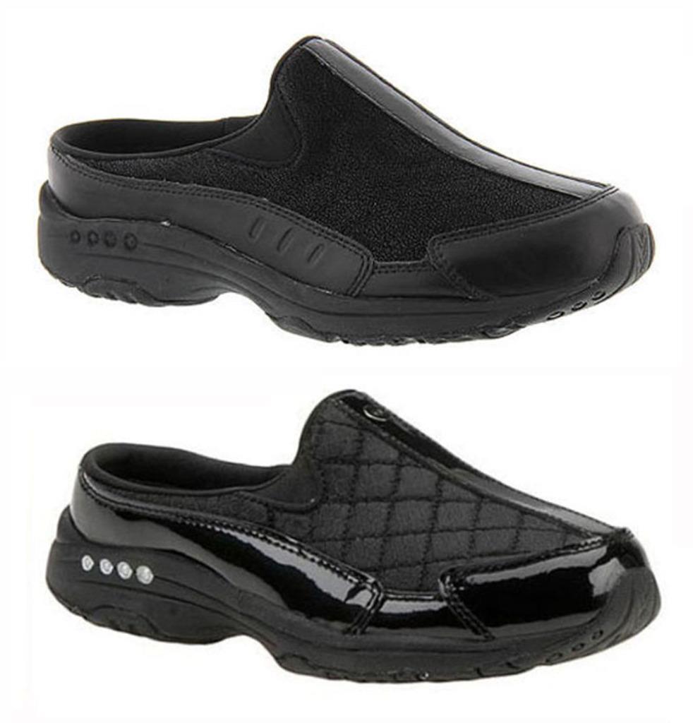 Easy Spirit Zuecos Zapatillas de tiempo de viaje en Negro y Negro Pat, MED y anchos de ancho