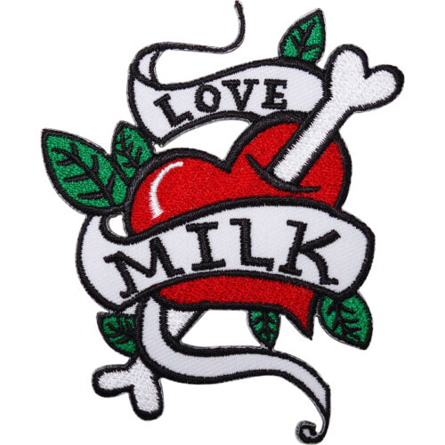 Love Milk Heart Tattoo Embroidered Iron Sew On Patch Bag Motorbike Jacket Badge
